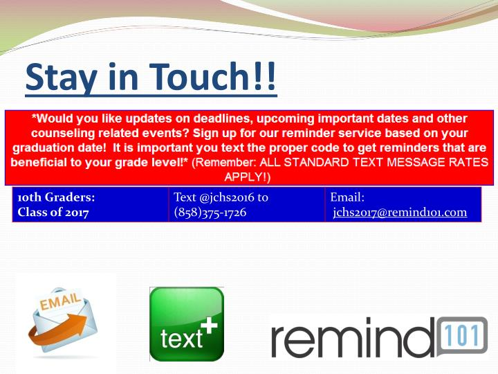 Stay in Touch!!