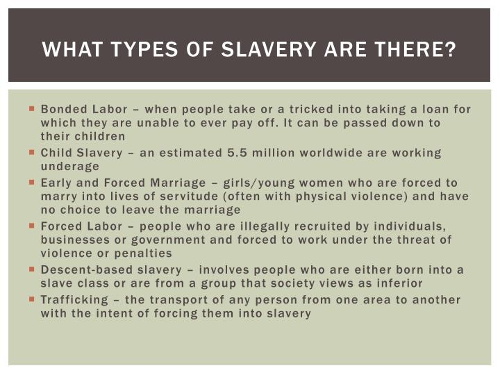 What types of Slavery are there?