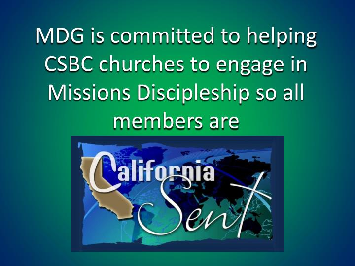 MDG is committed to