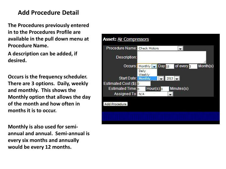 Add Procedure Detail