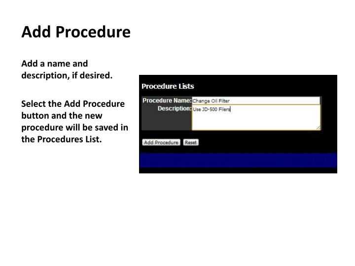Add Procedure