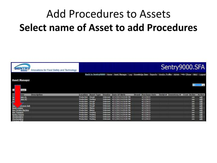 Add Procedures to Assets