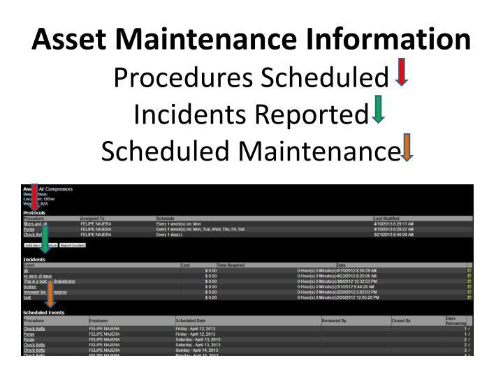 Asset Maintenance Information