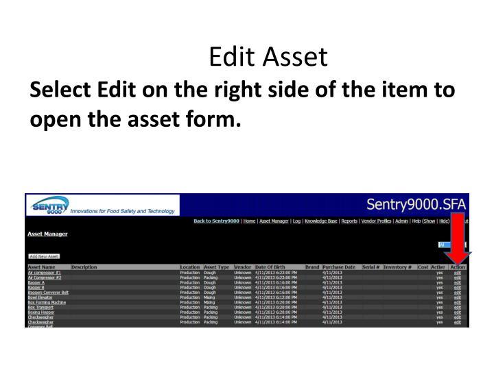Edit Asset