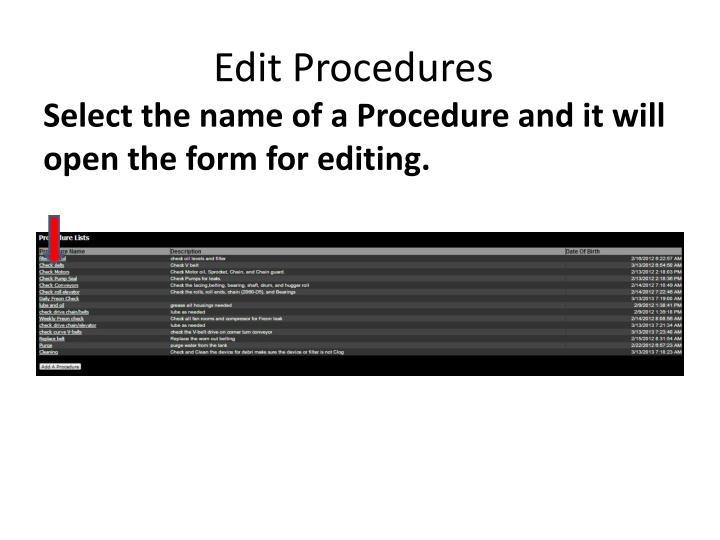 Edit Procedures