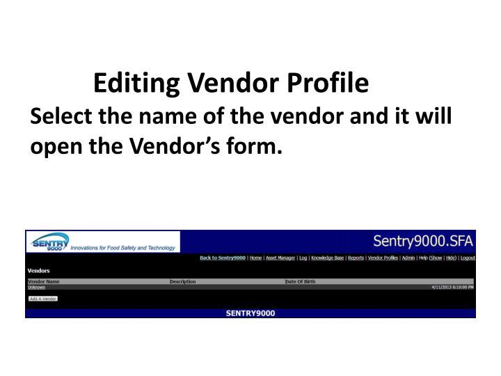 Editing Vendor Profile