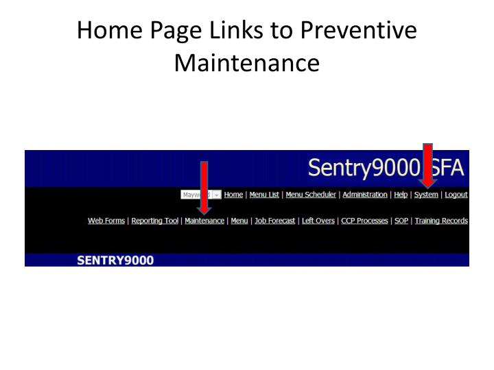 Home Page Links to Preventive Maintenance