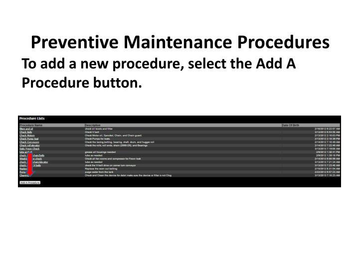 Preventive Maintenance Procedures