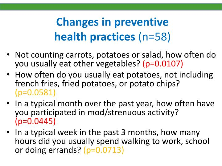 Changes in preventive