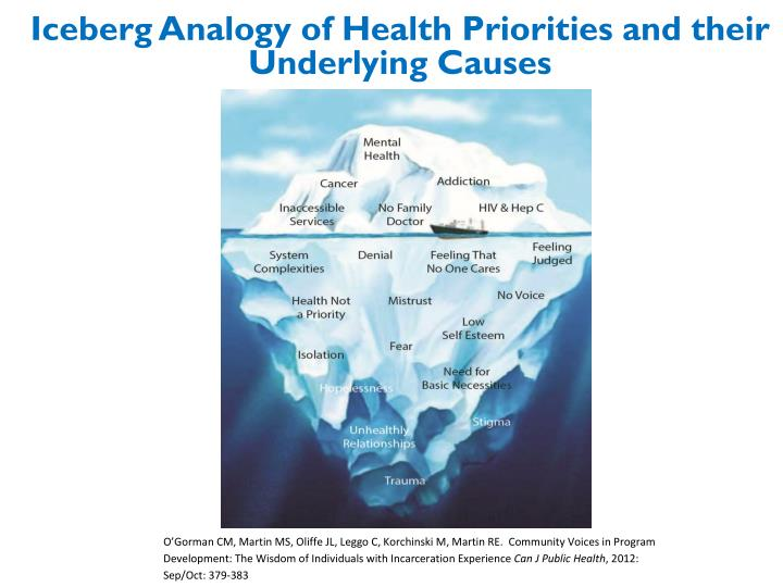 Iceberg Analogy of Health Priorities and their Underlying Causes