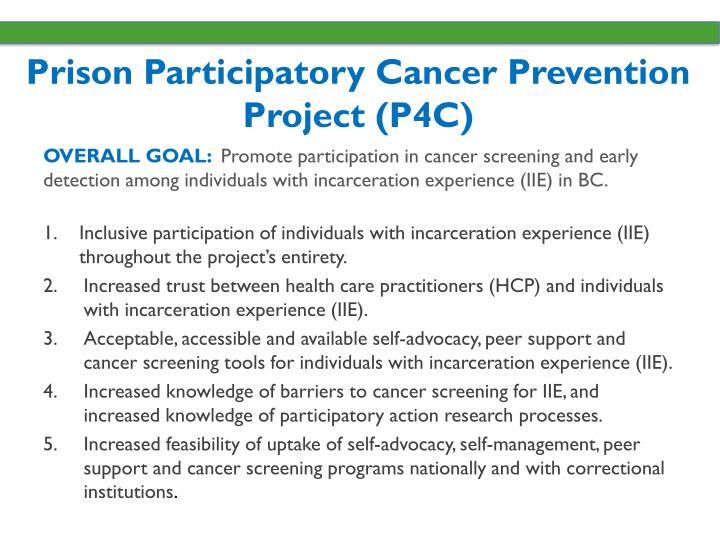 Prison Participatory Cancer Prevention Project (P4C)