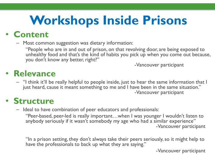 Workshops Inside Prisons