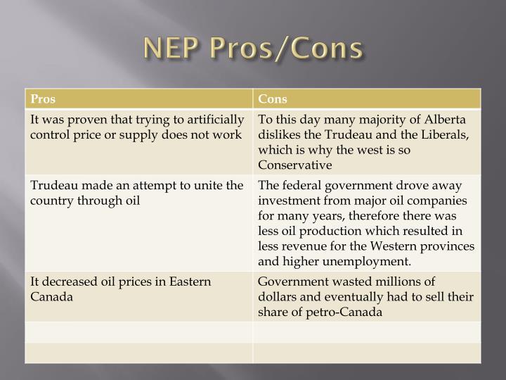 NEP Pros/Cons