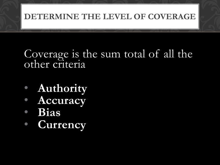 Determine the Level of