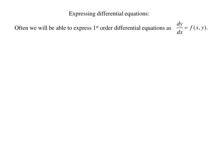 Expressing differential equations:
