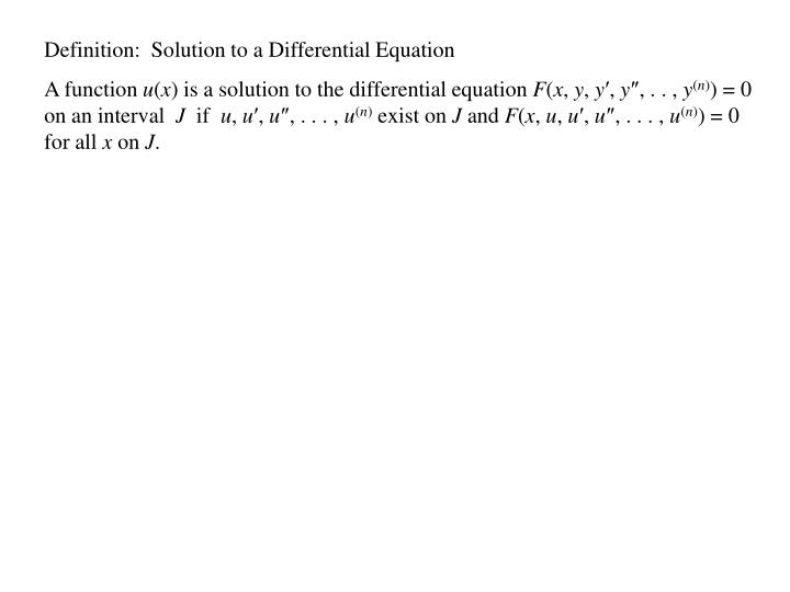Definition:  Solution to a Differential Equation