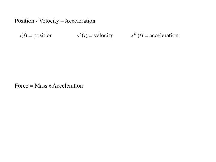 Position - Velocity – Acceleration