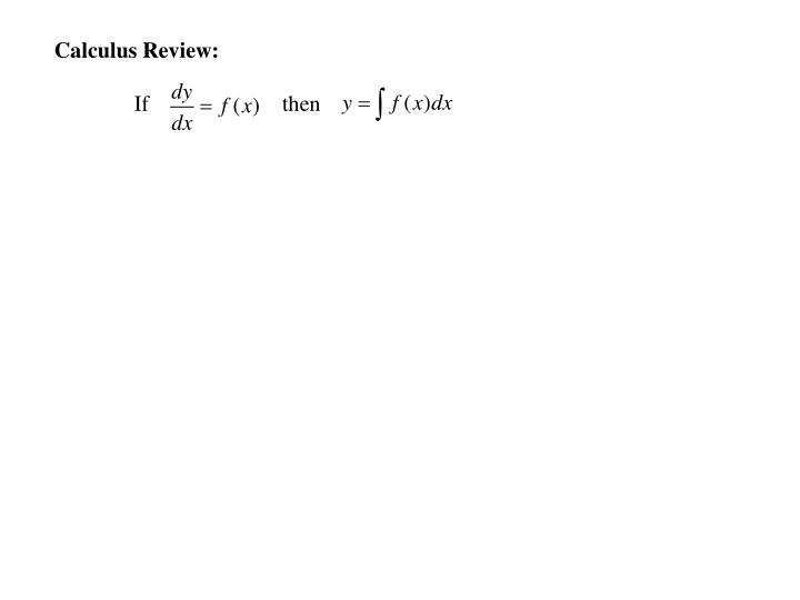 Calculus Review: