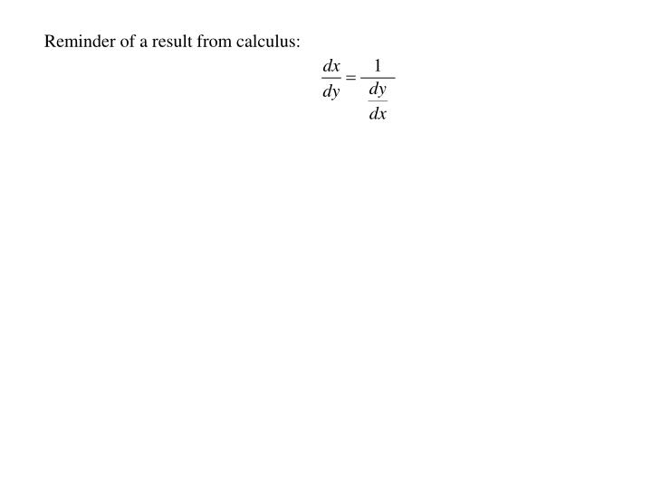 Reminder of a result from calculus: