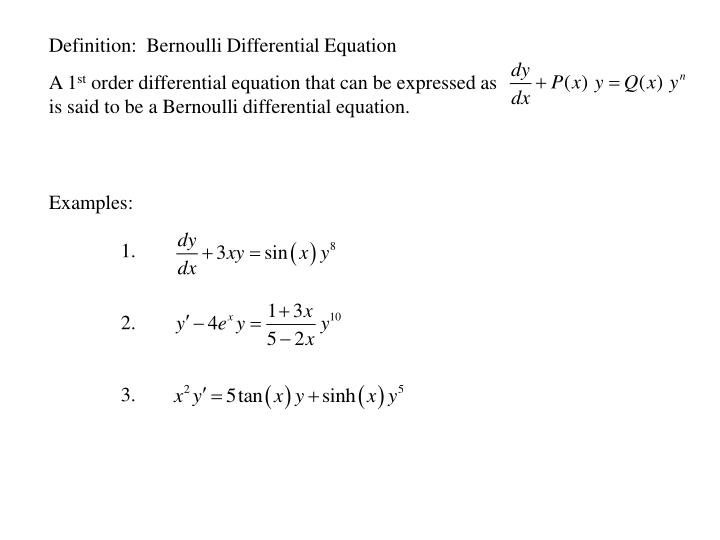 Definition:  Bernoulli Differential Equation