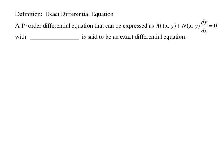 Definition:  Exact Differential Equation