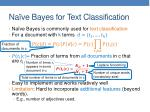 na ve bayes for text classification