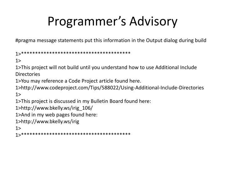 Programmer's Advisory