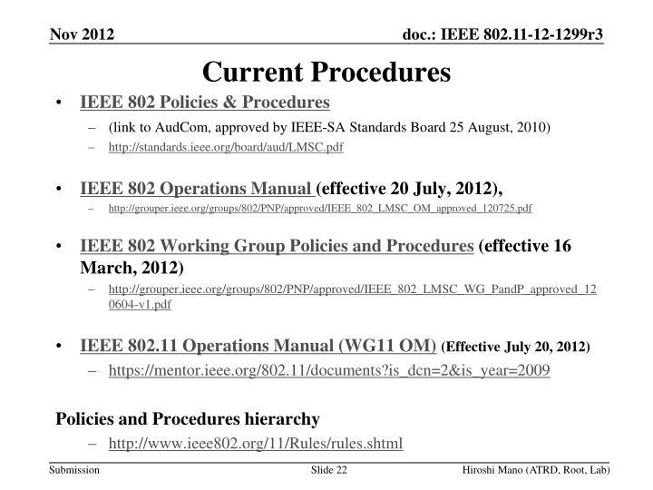 Current Procedures