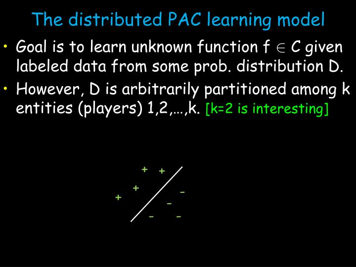 The distributed PAC learning model