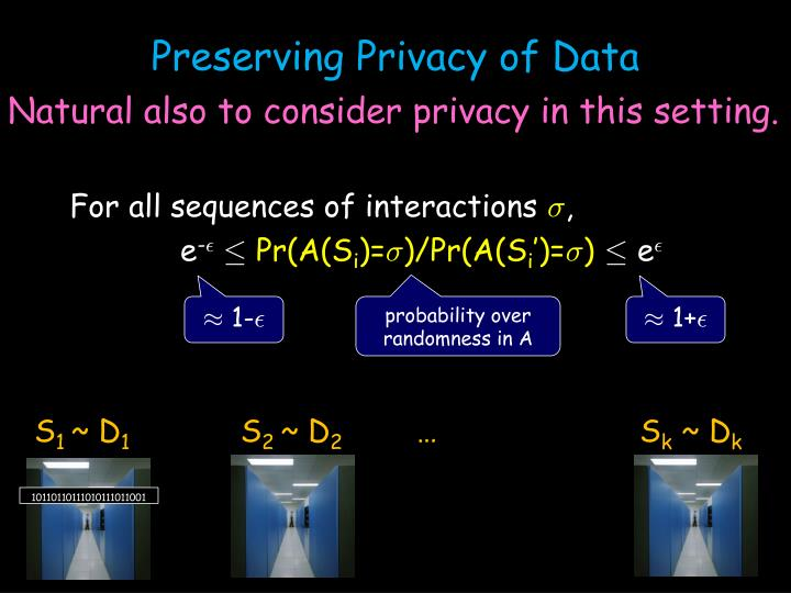 Preserving Privacy of Data