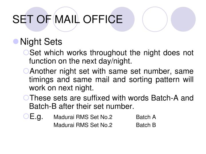 SET OF MAIL OFFICE