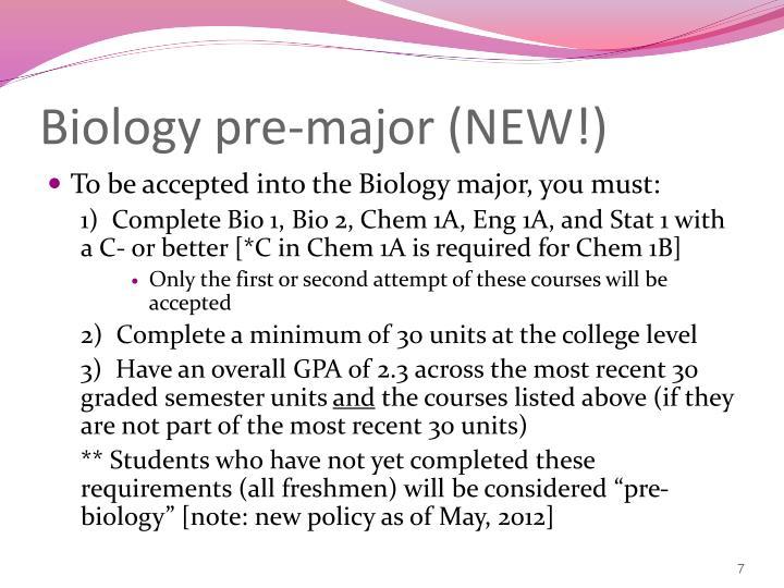 Biology pre-major (NEW!)