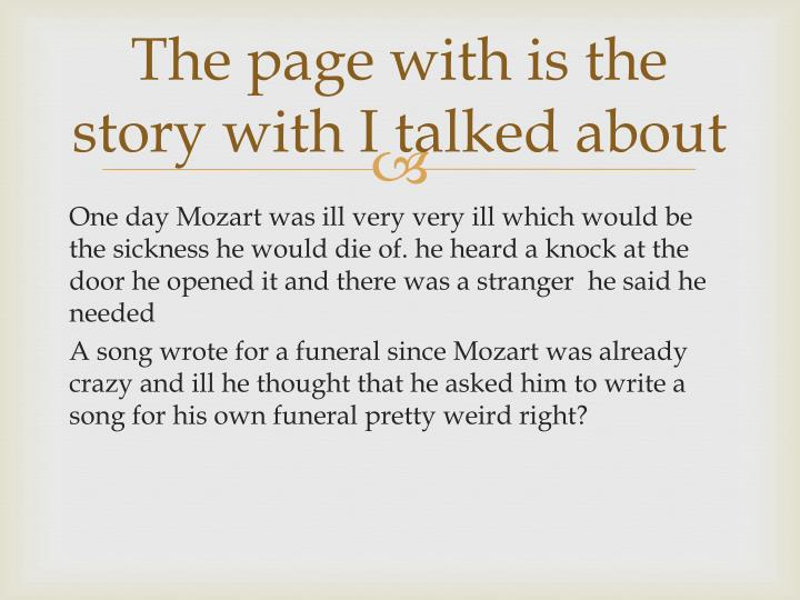 The page with is the story with I talked about