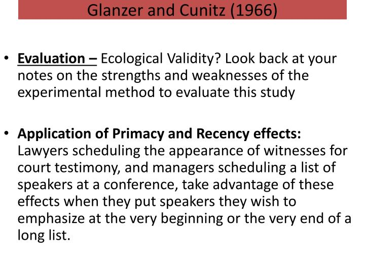Glanzer and cunitz study
