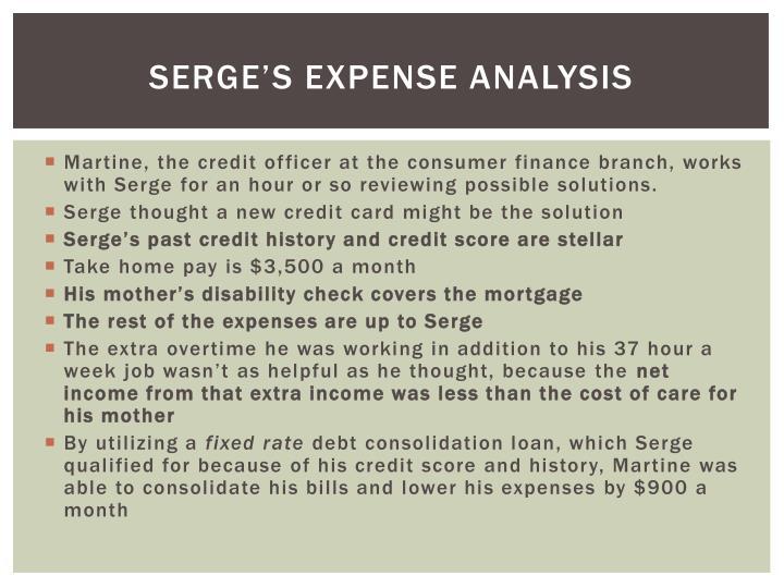 Serge's expense analysis