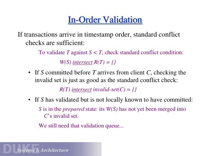 In-Order Validation