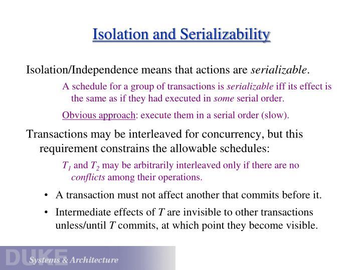 Isolation and Serializability