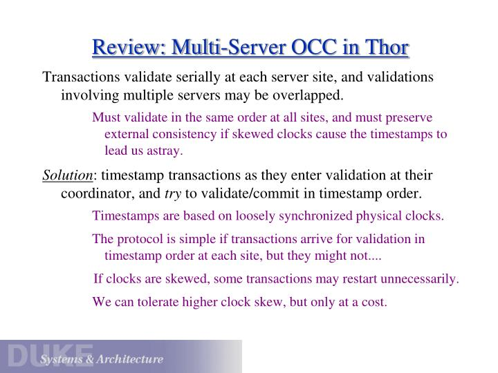 Review: Multi-Server OCC in Thor