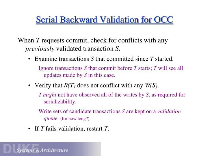Serial Backward Validation for OCC