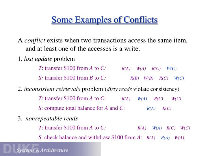 Some Examples of Conflicts