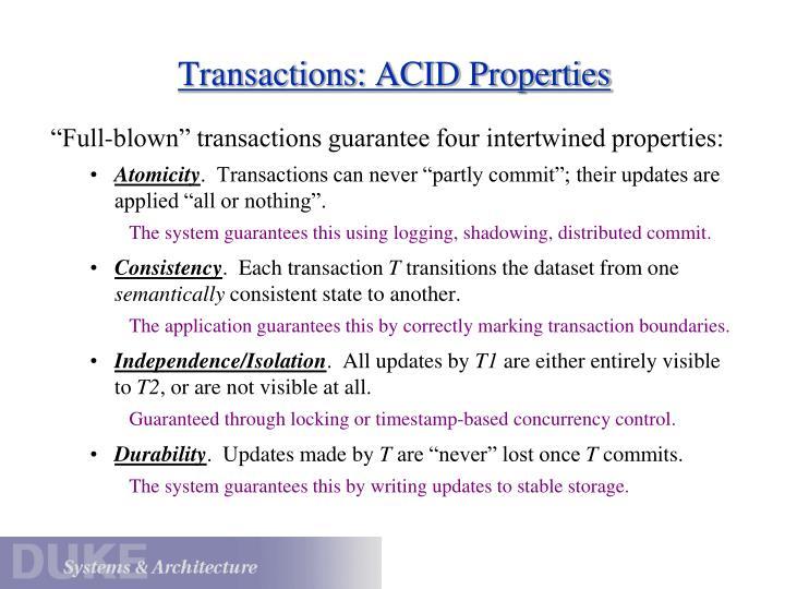 Transactions: ACID Properties