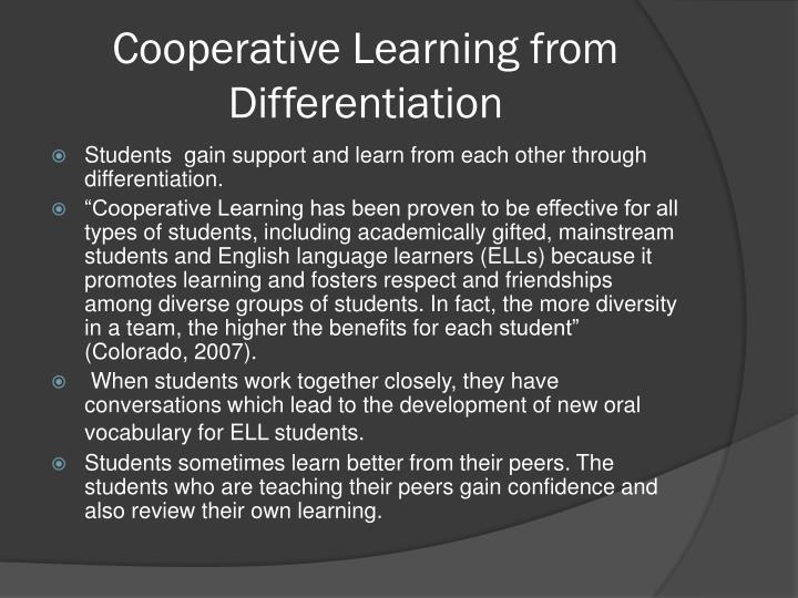 Cooperative Learning from Differentiation
