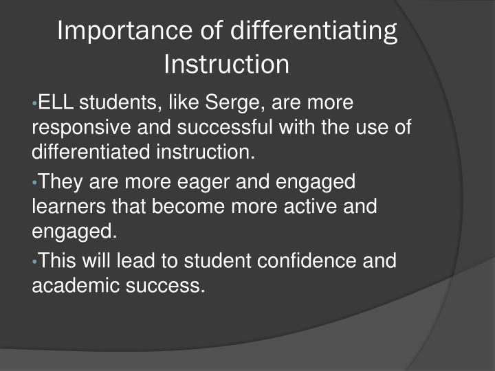 Importance of differentiating instruction