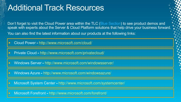 Additional Track Resources