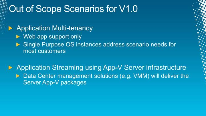 Out of Scope Scenarios for V1.0