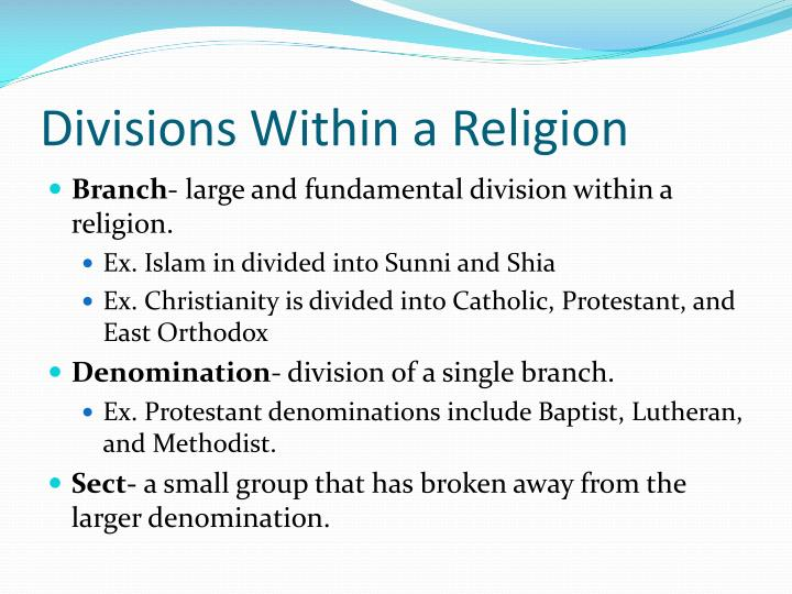 Divisions Within a Religion