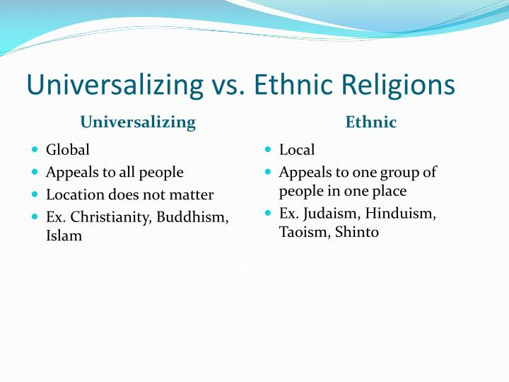 Universalizing vs. Ethnic Religions