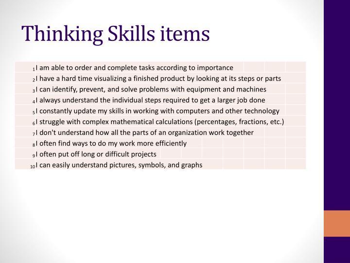 Thinking Skills items