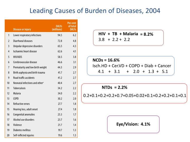 Leading Causes of Burden of Diseases, 2004