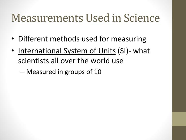 Measurements Used in Science